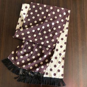 Handmade silk scarf polka dot in brown